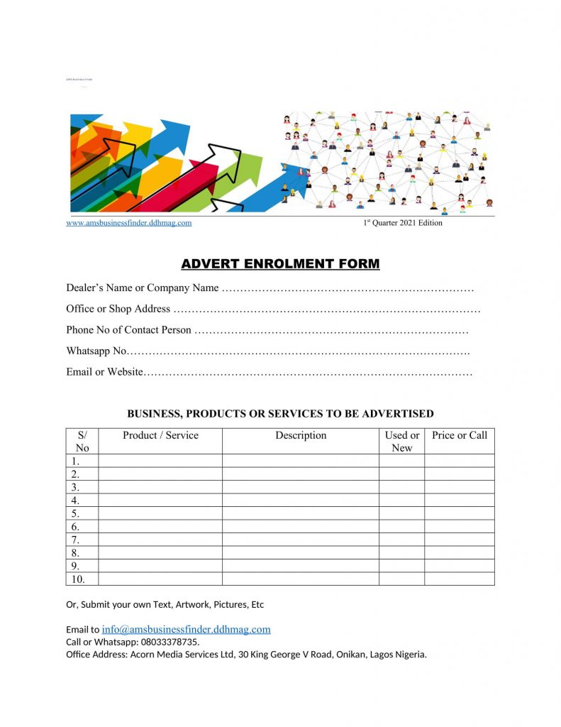 advert enrolment form